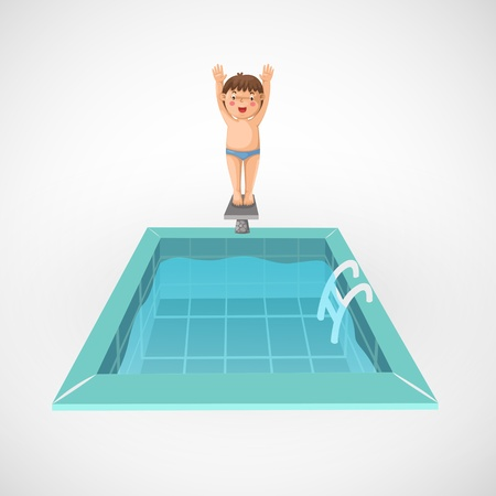 kids swimming pool: Ilustraci�n de chico aislado y un vector de piscina
