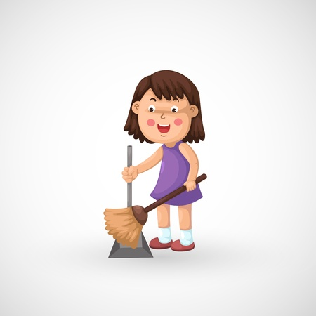dust pan: illustration of isolated a girl cleaning floor vector