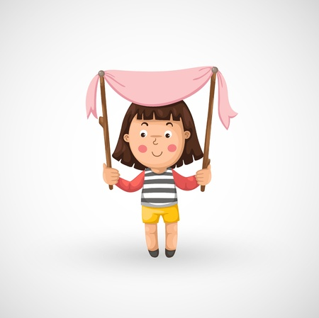 illustration of isolated a girl vector Vector