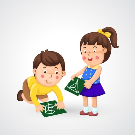 illustration of isolated children doing homework vector Vector