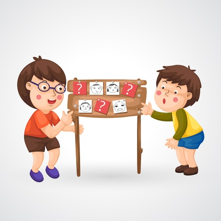 lecture room: illustration of isolated children doing homework vector