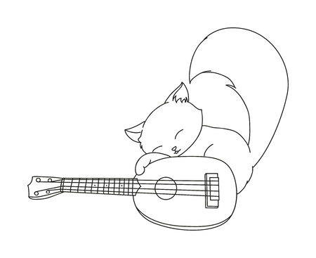 illustration of isolated hand drawn cat playing ukulele vector Vector