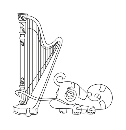 illustration of isolated hand drawn iguana playing harp vector Vector