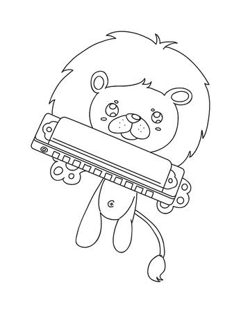 harmonica: illustration of isolated hand drawn lion playing harmonica vector