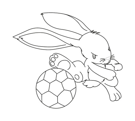 illustration of isolated hand drawn rabbit playing football vector Stock Vector - 20866220