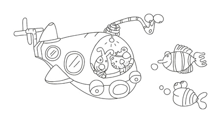 illustration of isolated hand drawn submarine underwater vector  Vector