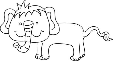 illustration of isolated hand drawn elephant vector  Illustration