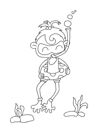 illustration of isolated hand drawn diving girl vector
