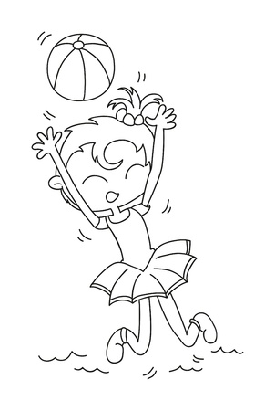 illustration of isolated hand drawn girl playing volleyball vector  Vector