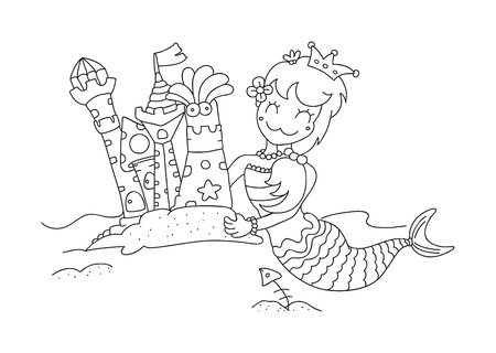 illustration of isolated hand drawn little mermaid   her sandy castles vector  Vector
