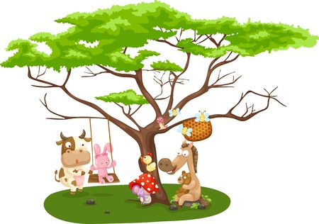 Illustration of wild animals near the big tree Vector