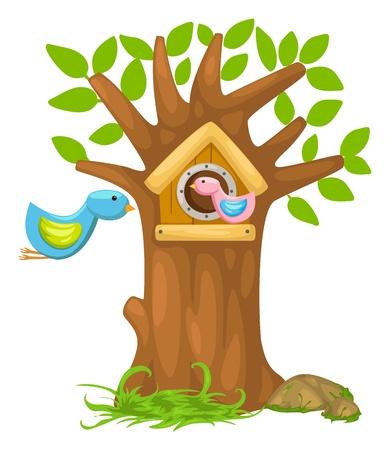 house fly: illustration of isolated cartoon bird house vector  Illustration