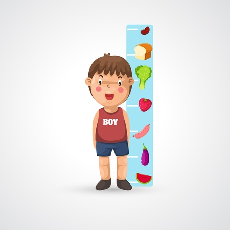 pediatric: illustration of isolated boy growing tall and measuring vector