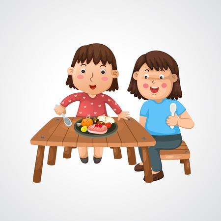 woman eat: illustration of isolated mom and kid vector