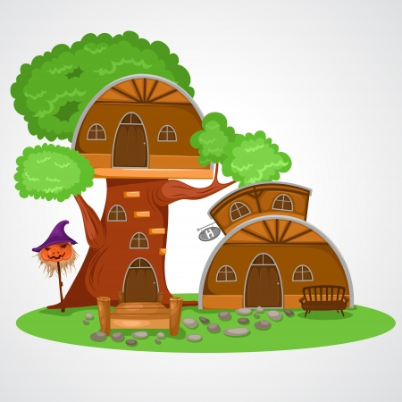 illustration of isolated tree house vector  Vector