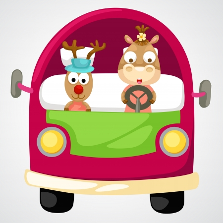 illustration of isolated reindeer in red car vector  Vector