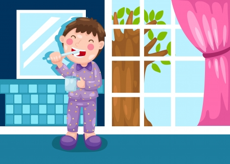 illustration of isolated boy brushing teeth in bathroom vector Vector