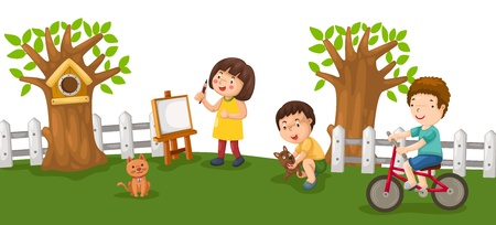 children playing outside: illustration of isolated activity in park vector