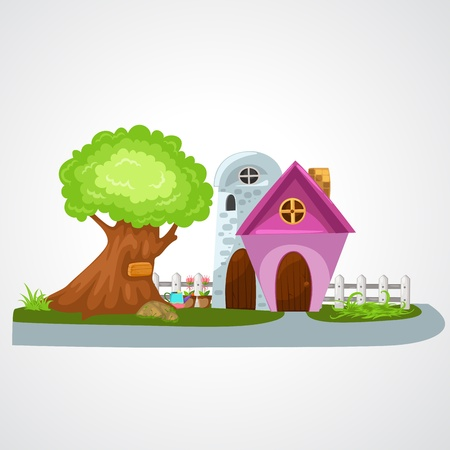 cottage garden: illustration of isolated house vector