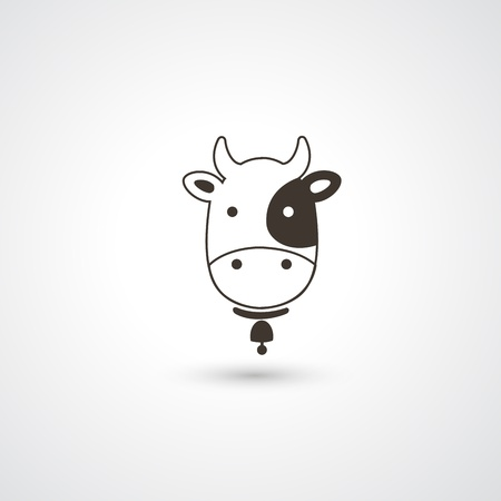 dairy cattle: Cow head icon vector