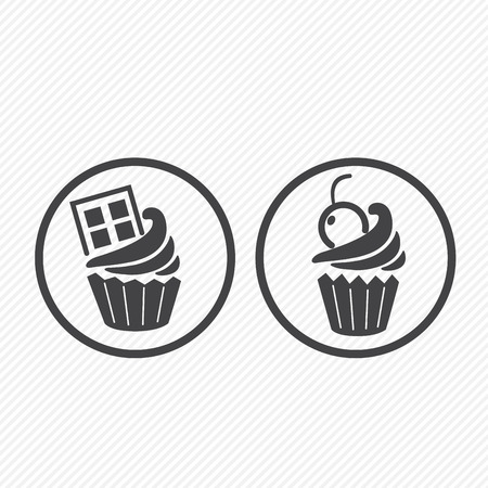 cupcake icons isolated on white background  Vector