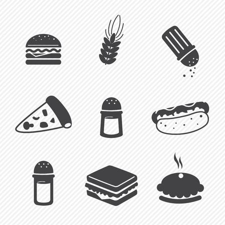 pepe nero: Fast food icone impostare isolato su sfondo bianco
