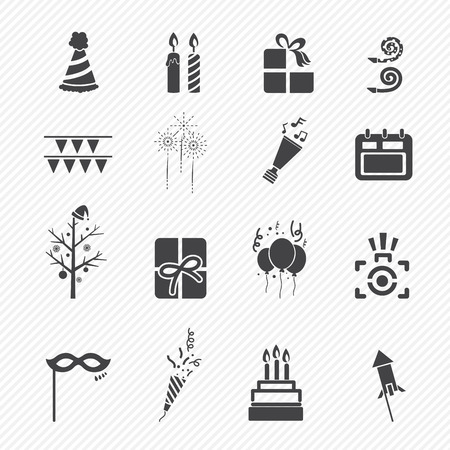 kerze: Frohes Neues Jahr-Icons isoliert auf weißem Hintergrund Illustration