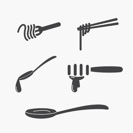 noodles: fork and spoon and chopsticks icons isolated on white background
