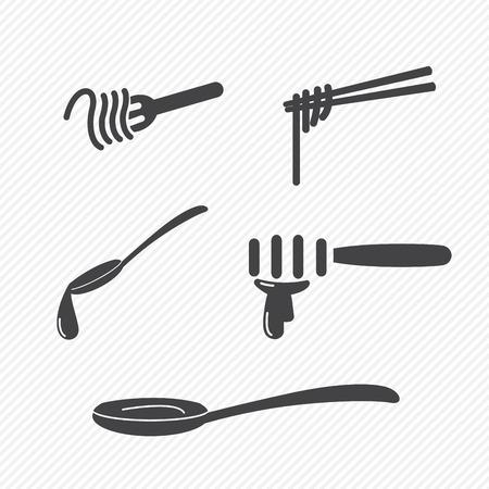 cuchara: tenedor y cuchara y los palillos iconos aislados sobre fondo blanco Vectores