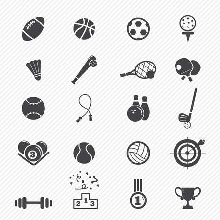 badminton: Sports Icons isolated on white background  Illustration