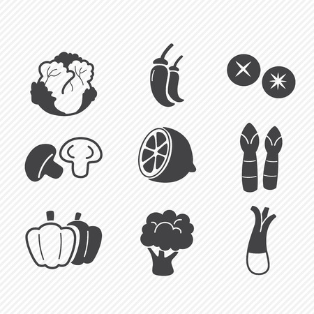 Vegetables Icons isolated on white background Stock Vector - 22712807