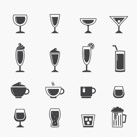 whie: Drink icons isolated on white background  Illustration