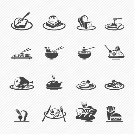 chicken rice: Food Icons isolated on white background