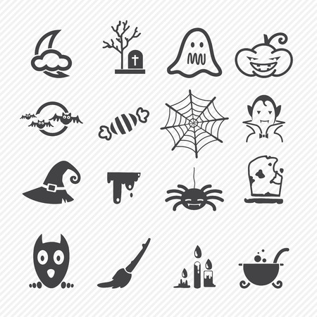 Halloween icons isolated on white background  Vector