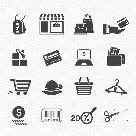 dollar sign icon: Shopping icons isolated on white background