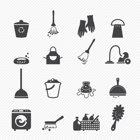 cleaning up: Cleaning icons isolated on white background