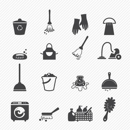 criada: Iconos de limpieza aislados sobre fondo blanco