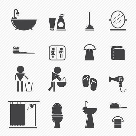 clean home: Badkamer iconen op een witte achtergrond