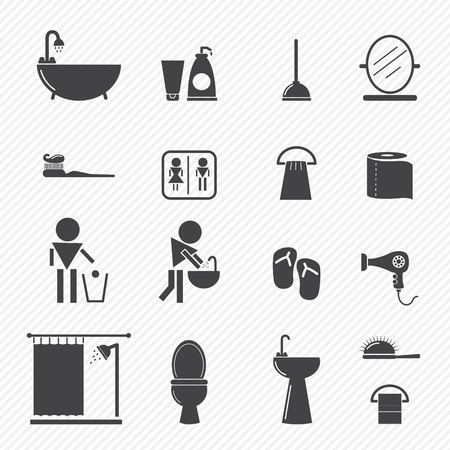 cleaning bathroom: Bathroom icons isolated on white background