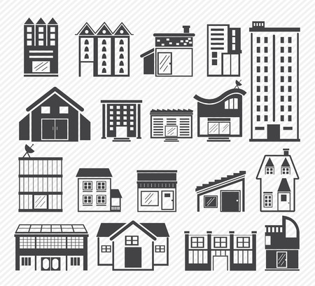 bank office: Building Icons isolated on white background Illustration