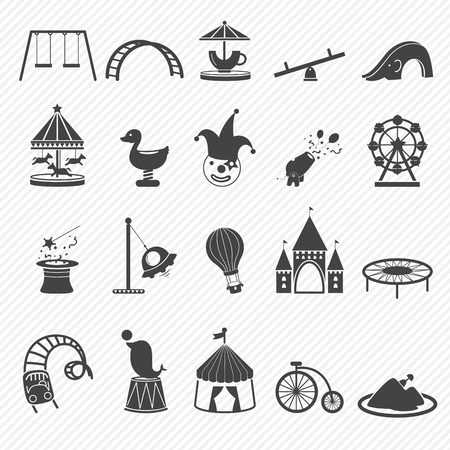 amusement: Amusement Park icons isolated on white background