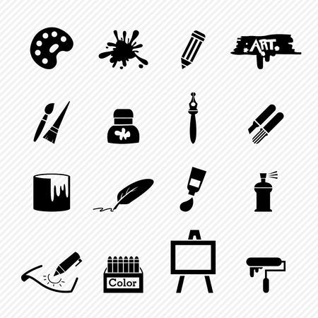 paintbrush spray: Art icons vector Illustration
