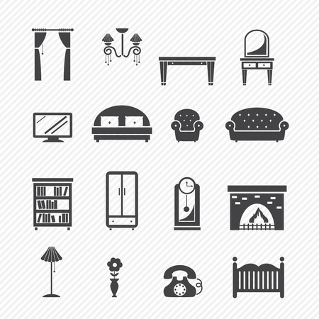interior lighting: Furniture Icons set Illustration