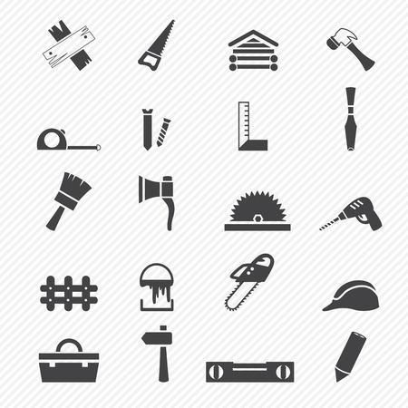 Iconos Carpintería Ilustración de vector
