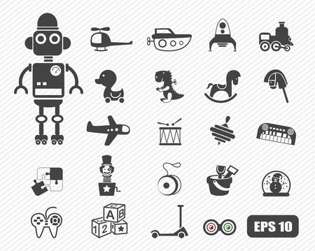 juguetes de madera: Juguetes iconos vectoriales Vectores