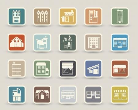 Gebäude Icons Symbole