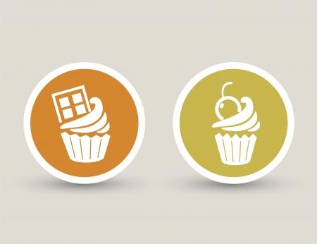 cupcake icons Stock Vector - 23893082