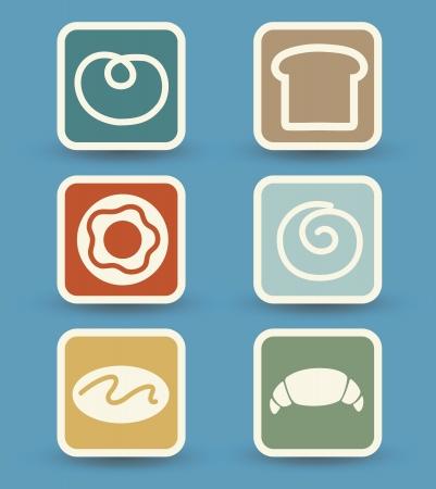 swiss roll: Bread icons set