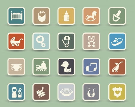 baby stroller: Baby Icons set