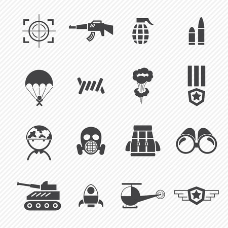 bullets: Military and war icons Illustration